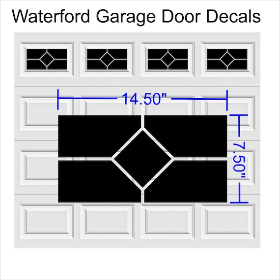 Garage Door Vinyl Window Decals: Waterford Faux Window Garage Door Vinyl Decals Fits 8 X 15