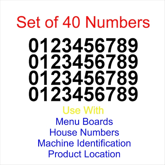 signs 0-9 10 of each. 100 1//2 High Sticky Numbers arts menu boards crafts