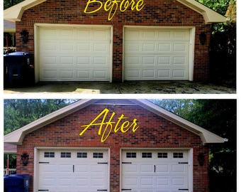 Craftsman Style Faux - Garage Door Windows - Vinyl Decals - No Faux Hardware Included