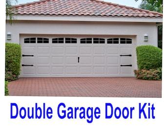 Carriage House Style Vinyl Garage Door Decal Kit Faux Windows & Hardware