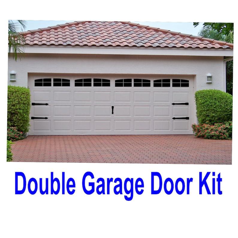Garage Door Kit >> Carriage House Style Vinyl Garage Door Decal Kit Faux Windows Hardware