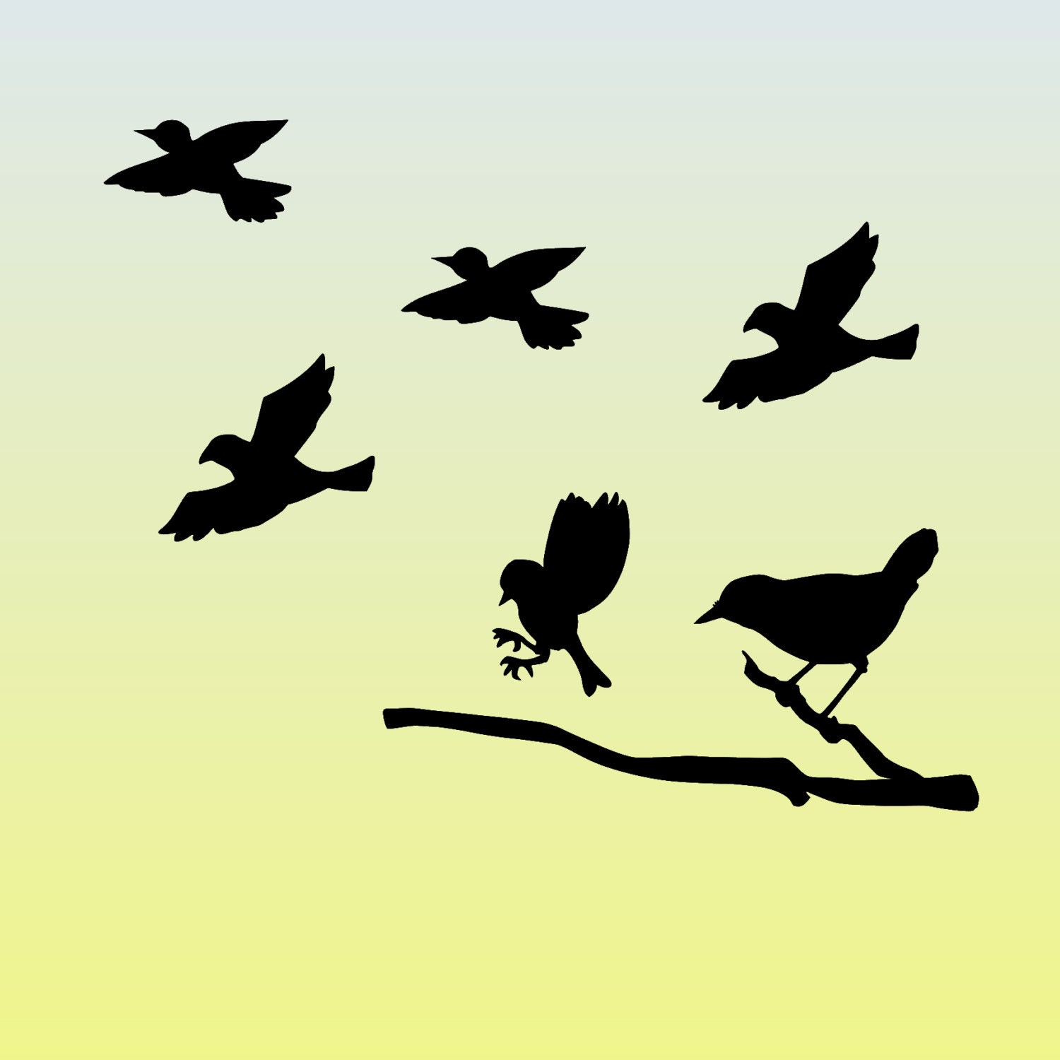 Flying Bird Silhouette Vinyl DIY Sign Decal Set Wall Graphic   Etsy