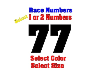 Set of 2 Race Numbers Vinyl Decals -  Select Size 1 inch to 5 inch - FREE Shipping