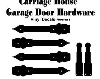 Carriage / Craftsman Garage Door Hardware - Vinyl Decals - Ver3