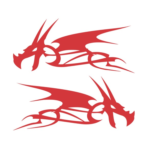 Dragon Head Flame Vinyl Decal Stickers Motorcycle Gas Tank Badge Select Color