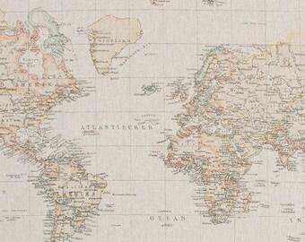 World map fabric | Etsy