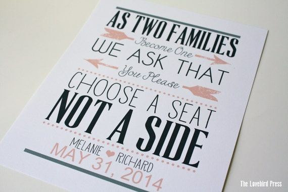 choose a seat not a side sign no seating chart printable etsy