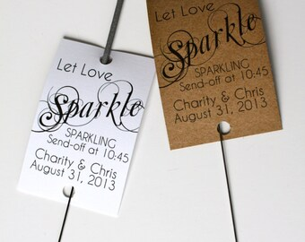 Wedding Sparkler Tags - Personalized Printable Let Love Sparkle Wedding Favor Sparkler Tags - Sparkler Send Off - AA1