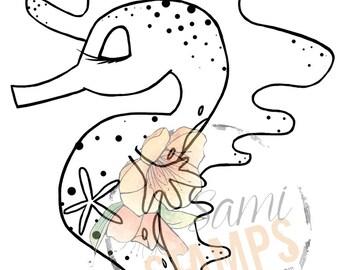 "Digital Stamp ""Starfish Seahorse"""
