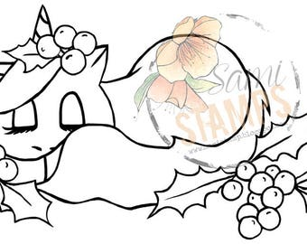 "Digital Stamp ""Little Holly Unicorn"""