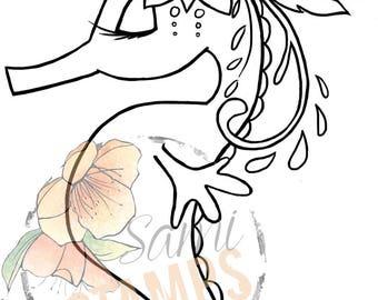 """Digital Stamp """"Flower Seahorse"""""""