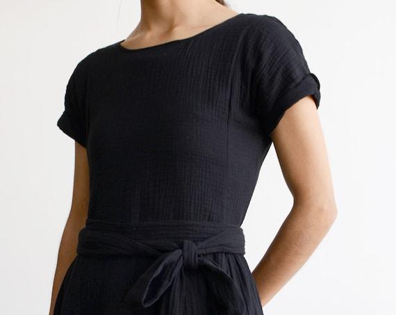 Rosalina Cotton Gauze Dress Black