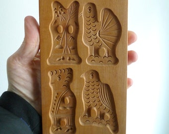 Vintage Dutch Cookie Mold, Carved Wood, Speculaas, Wood Mould, Wall Art, Carved Wood, Folk Art, Vintage Baking Mold, Decorative Mold