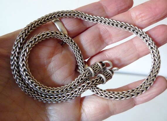Vintage Sterling Silver Wheat Chain, Bali Silver,