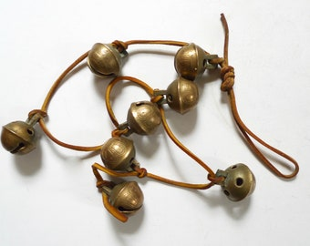 Eight Brass Bells, Brass Chimes, Wind Chimes, Indian Brass Bells, Bells of Sarna, Vintage Brass Bells