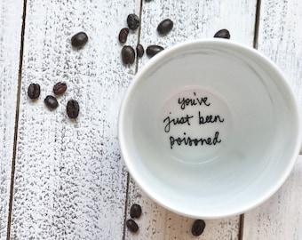 Custom phrase mug . white mug . funny mugs . holiday gifts . surprise gifts . personalized mug . bottom of the mug sayings