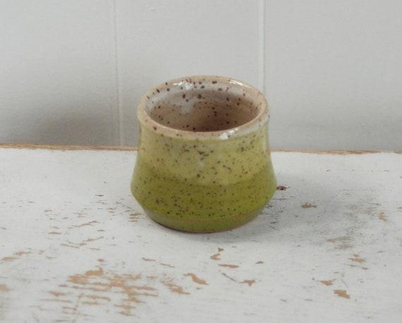 Stoneware Candy Dish Tan Wheel thrown Ceramic Tea Bowl Caramel Brown and Dark Green Succulent Pot Serving Brown