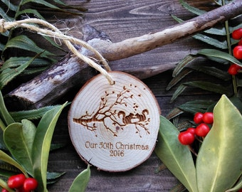 """Unique 2.8"""" Locally Grown Wood Disc Ornament, Squirrels in Love, Custom Made, Personalized, Engraved, Christmas Decoration, Handmade"""