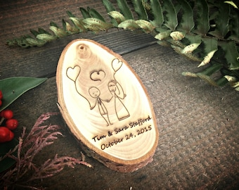 """Unique 2.8"""" Locally Grown Wood Disc Ornament, Custom Made Couple in Love, Personalized, Engraved, Christmas Decoration, Handmade"""
