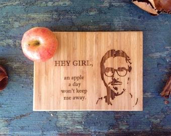 Hey Girl, You deserve this cutting board. Ryan Gosling Hey Girl Bamboo Cutting Board, Great Gift