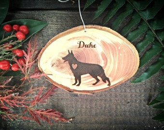 """Unique 2.8"""" Locally Grown Wood Disc Ornament, Custom Made German Shepherd with a Heart, Personalized, Engraved, Christmas Decoration"""