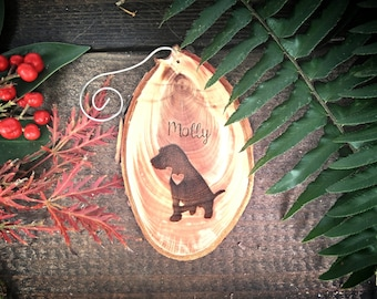 """Unique 2.8"""" Locally Grown Wood Disc Ornament, Custom Made Mutt with a Heart, Personalized, Engraved, Christmas Decoration, Handmade"""