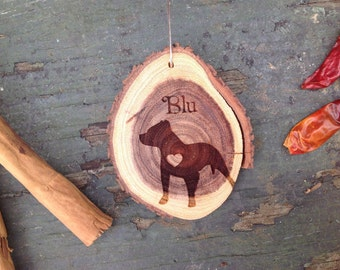 """Unique 2.8"""" Locally Grown Wood Disc Ornament, Custom Made Pitbull with a Heart, Personalized, Engraved, Christmas Decoration, Handmade"""