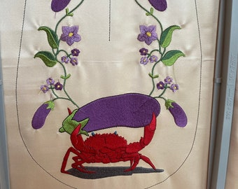 Crab holding an Eggplant Emoji Pocket - 2021 pocket - Hand Embroidery files for your creative use (pocket)