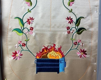 2020 Dumpster Fire - 18th Century Pocket - Hand Embroidery Pattern - PDF for Hand embroidery only!