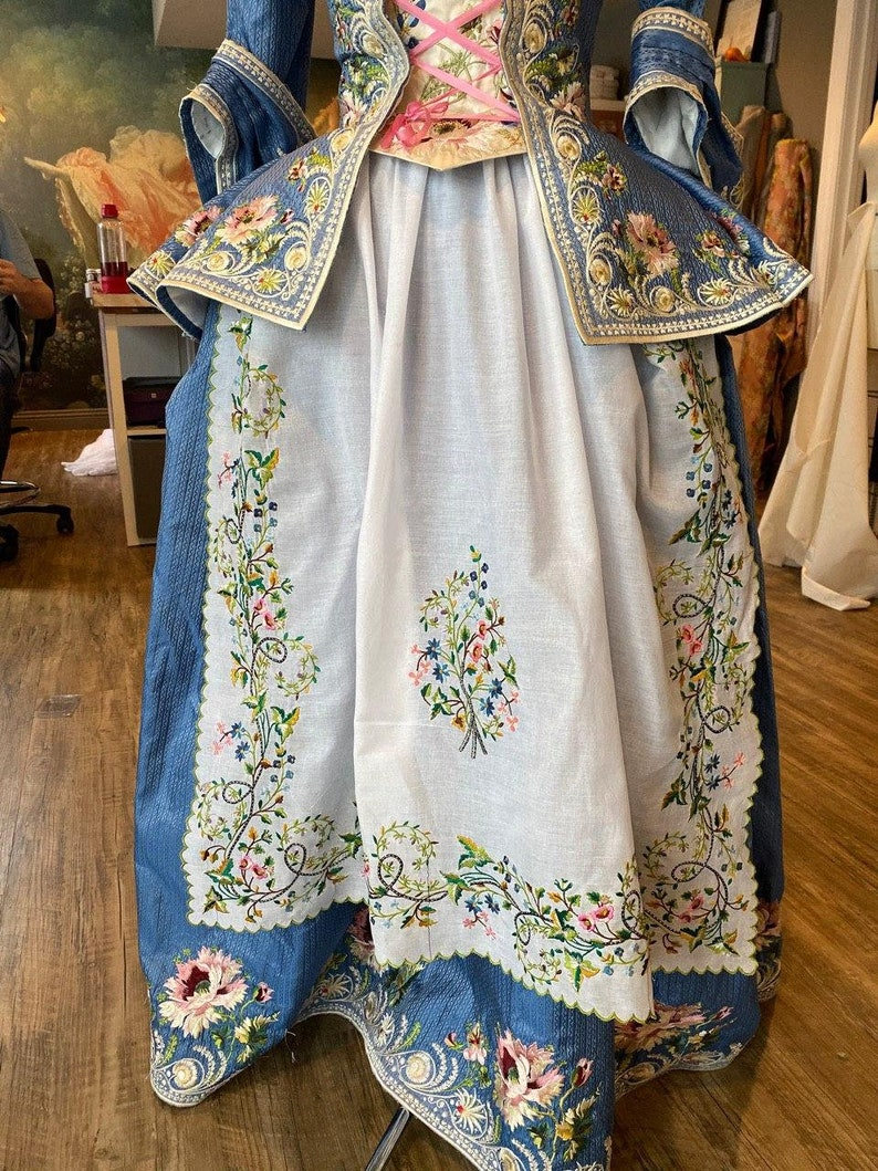 Colorful 1780's Fichu and Apron Embroidery  Includes image 0