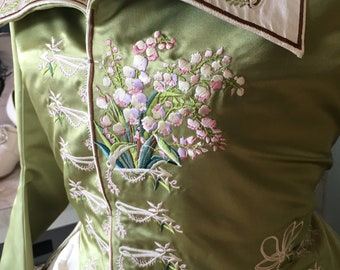 Green Lily of the Valley Redingote - 1780s gown Digital Embroidery Files