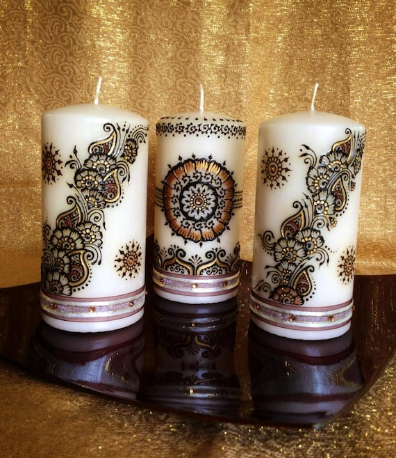 Set Of 3 Medium Sized Henna Candles Gold And Brown Etsy