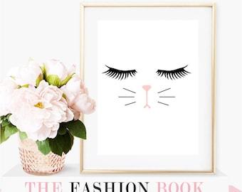 Cat Art Print, PRINTABLE, Cat Wall Art, Girls Room Wall Art, Cat Lover Gift, Cat Print, Kitten Art, Gift For Cat Lover, Cat Nursery Print