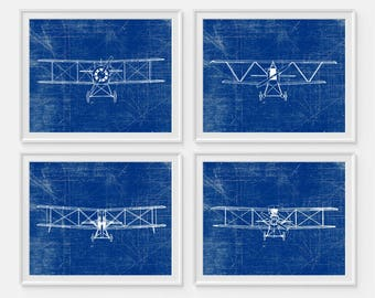 Uberlegen Airplane Art Print, Plane Art, Blueprint Wall Art, Aviation Wall Art, Set  Of 4, Nursery Decor, Boys Wall Decor, Transportation Print