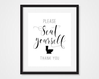 Please Seat Yourself Art Print, Bathroom Wall Art, Funny Bathroom Sign,  Toilet Humor