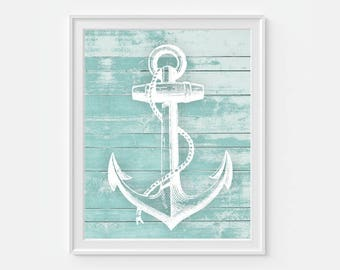 Anchor Wall Decor, Anchor Print, Nautical Home Decor, Teal Wall Art, Anchor Decor, Beach House Decor, Beach Decor, Coastal Decor, Anchor Art