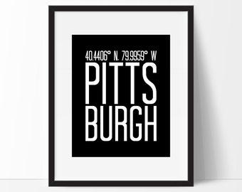 Pittsburgh, Pittsburgh Pennsylvania Art Print, Pennsylvania Art, City Art, Pittsburgh PA, Pittsburgh Coordinates, Pennsylvania Wall Art