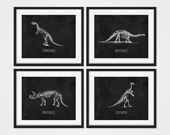 Dinosaur Prints, Dinosaur Wall Art, T-Rex Art, Dinosaur Decor, Kids Room Decor, Boys Room Art, Childrens Wall Art, Dinosaur Skeletons