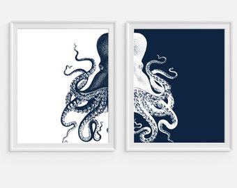 Octopus Art Print, Nautical Wall Art, Sea Life, Set of Two Prints, Navy Blue Octopus, Beach House Decor, Coastal Wall Art, Octopus Wall Art