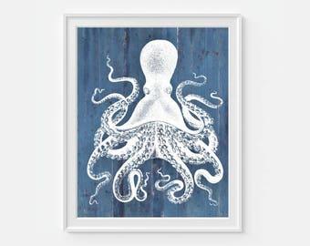 Octopus Art Print Beach Decor, Nautical Decor, Beach House Sea Ocean, Sea Life, 5x7, 8X10, 11x14 Home Decor Nautical Wall Decor