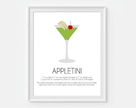 Appletini Wall Art Martini Art Bar Wall Decor Home Bar Art Cocktail Print Alcohol Wall Art Art For Bar Drink Recipe Art Bar Decor