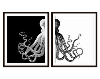 Octopus Art Print, Beach Decor, Nautical Decor, Beach Decor, Sea Life, Set of Two - 5x7, 8X10, 11x14 Home Decor, Nautical Wall Decor