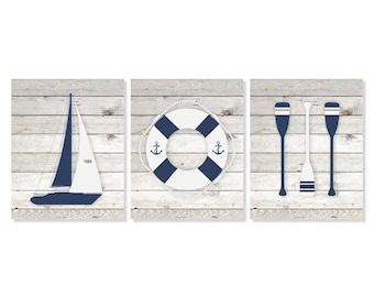 Nautical Art Prints, Boat, Life Buoy, Oars Set of 3 - 5x7, 8X10, 11x14 Sailboat Art, Nautical Wall Art, Beach House Decor, Boys Room Art