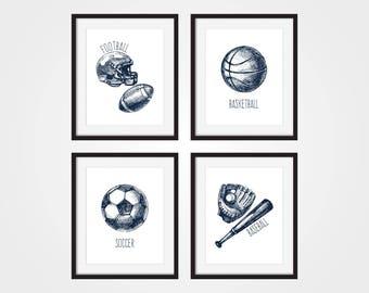 Sports Nursery Art, Toddler Boy Art, Nursery Sport Decor, BasketBall Art, Football Wall Art, Sports Wall Art, Sports Prints, Sports Theme
