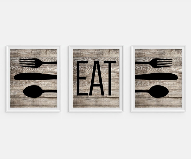 Rustic Kitchen Art Print Eat Fork Spoon Knife Art Etsy