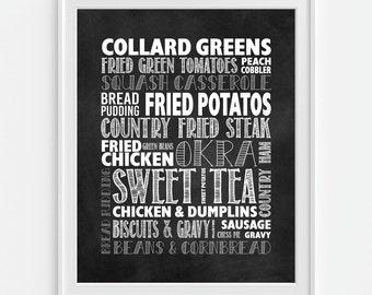 Food Art Print, Southern Foods, Southern Cuisine, Subway Art, Faux Chalkboard Print, Kitchen Wall Art, Kitchen Print, Cooking Art,