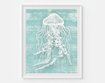 Jellyfish Art Print, Nautical Art, Jellyfish Wall Art, Coastal Decor, Coastal Art, Tropical Wall Art, Jellyfish Print, Coastal Wall Decor