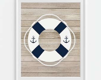 Boat Lifebuoy Art Print, Life Ring, Boat Lifesaver,  5x7, 8X10, 11x14 Sailboat Buoy, Nautical Wall Art, Nautical Decor, Boys Nursery Art