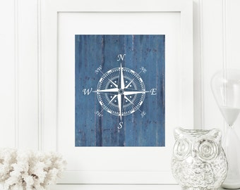 Compass Art Print, Ship Compass, Rustic Art, Nautical Art, Rustic Wood 'Look' 5x7, 8X10, 11x14 Beach Decor, Nautical Wall Art