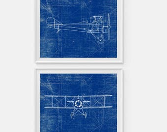 Airplane blueprint etsy more colors airplane art malvernweather Gallery
